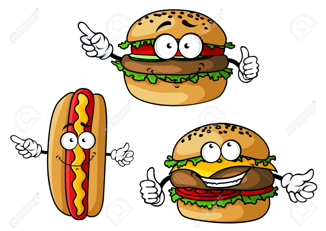 Funny hamburgers and hot dog cartoon characters with appetizing...