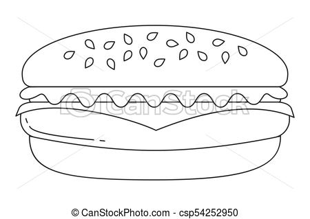 Black and white burger hamburger cheeseburger fast food icon poster..