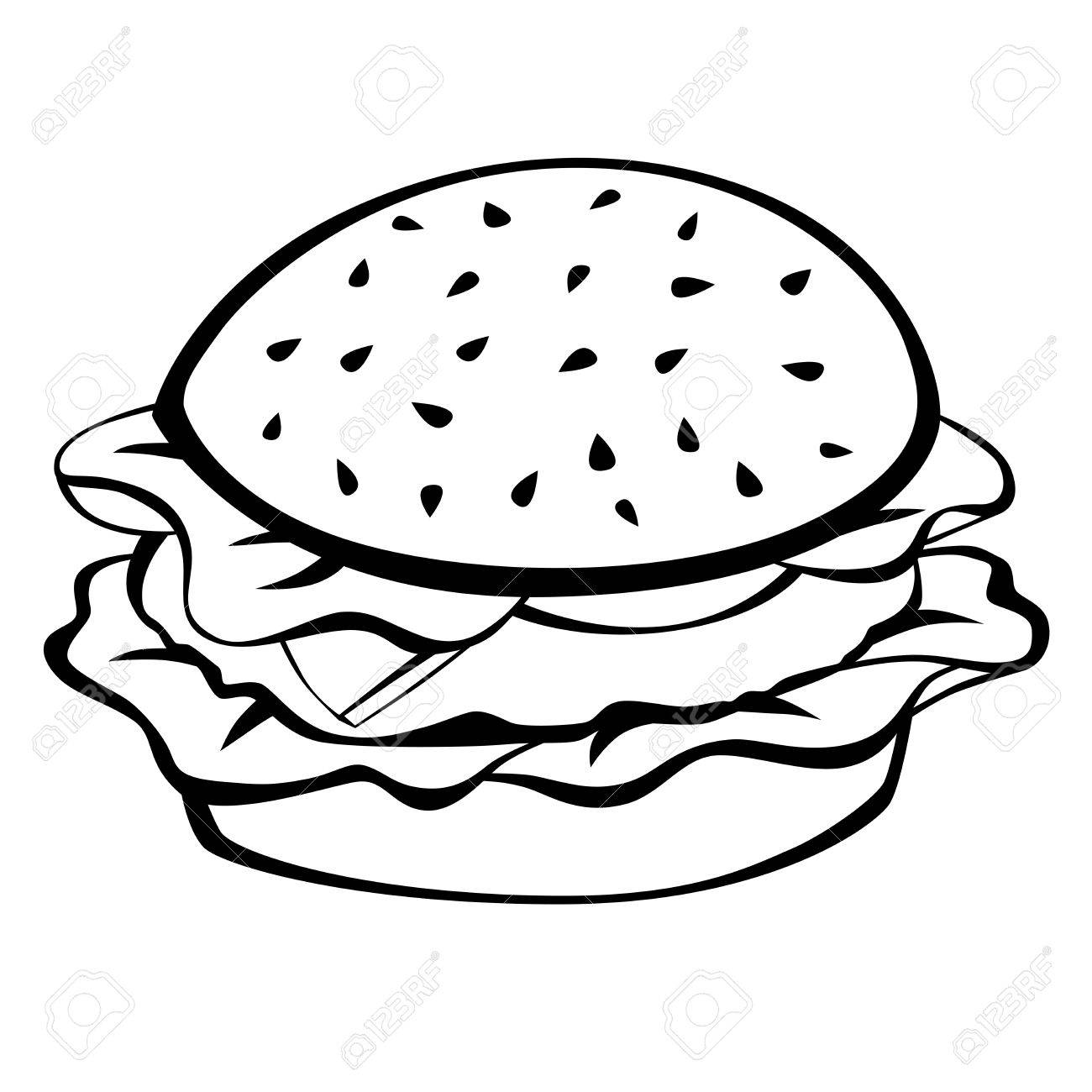 Black white hamburger food isolated illustration vector.