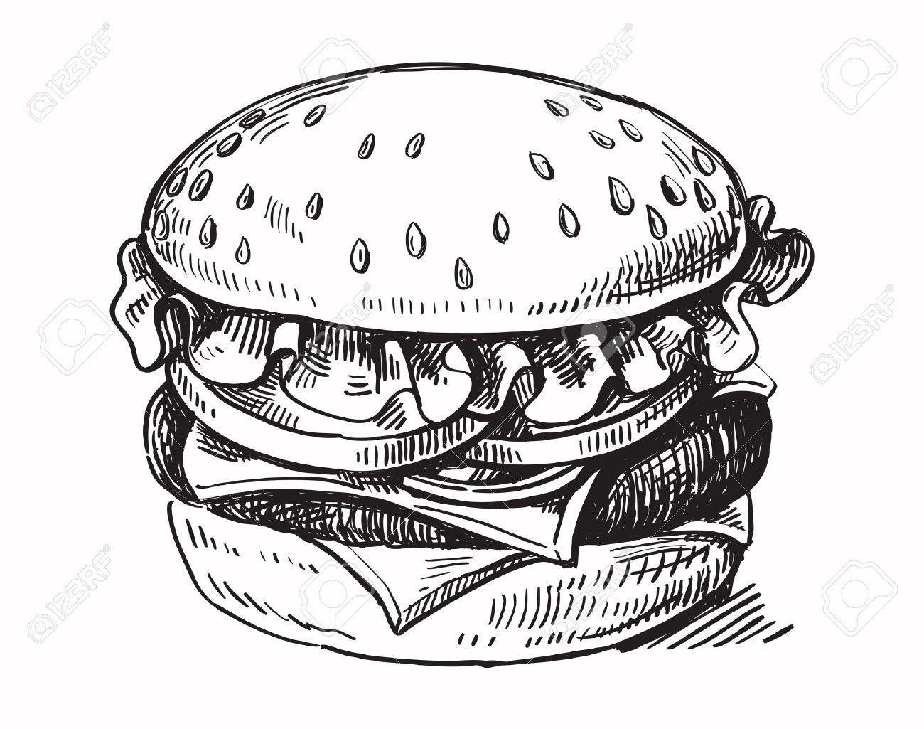 vector black hand drawn hamburger on white background.