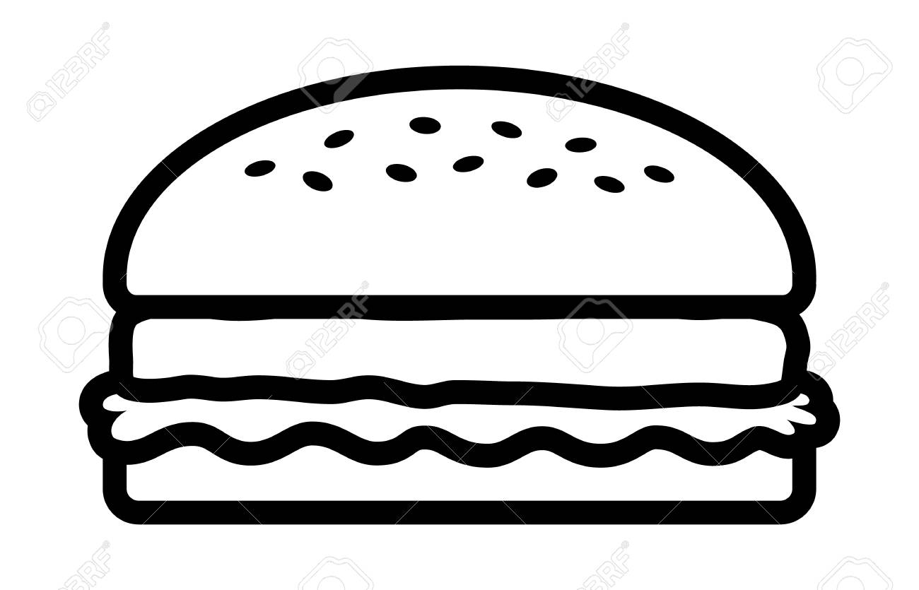 Hamburger or burger with lettuce and beef patty line art vector...