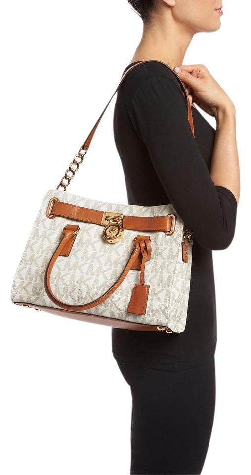Michael Kors W Hamilton Medium E/W Vanilla / Gold Signature Pvc / Leather  Satchel 16% off retail.