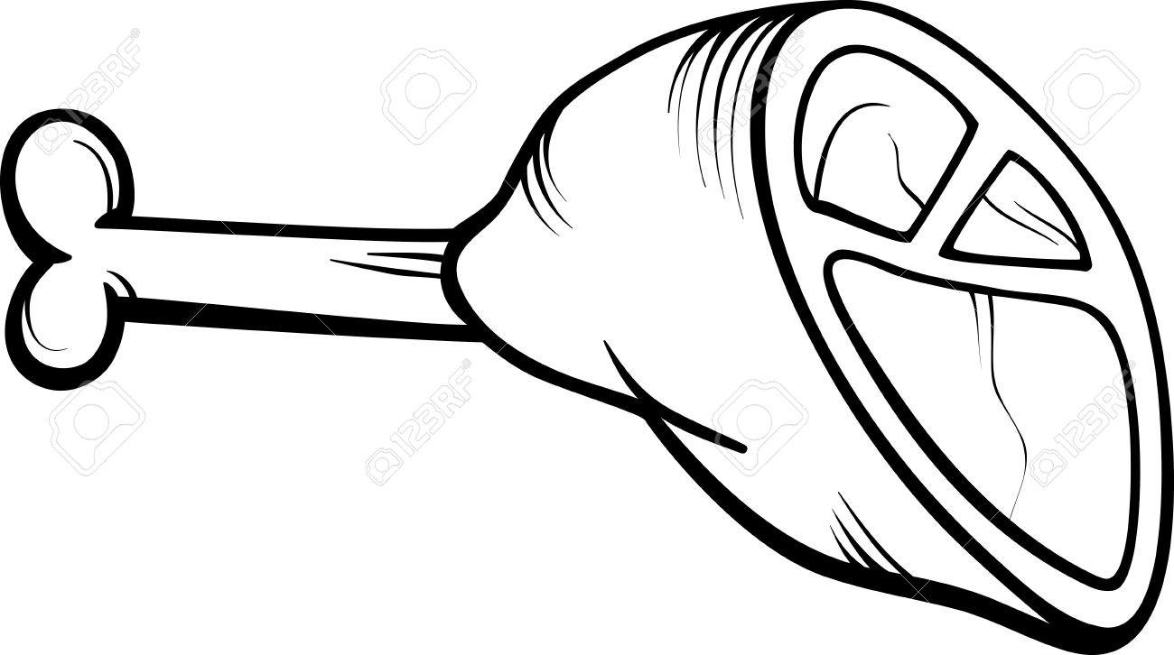 Black And White Cartoon Illustration Of Ham Or Haunch Meat Food.