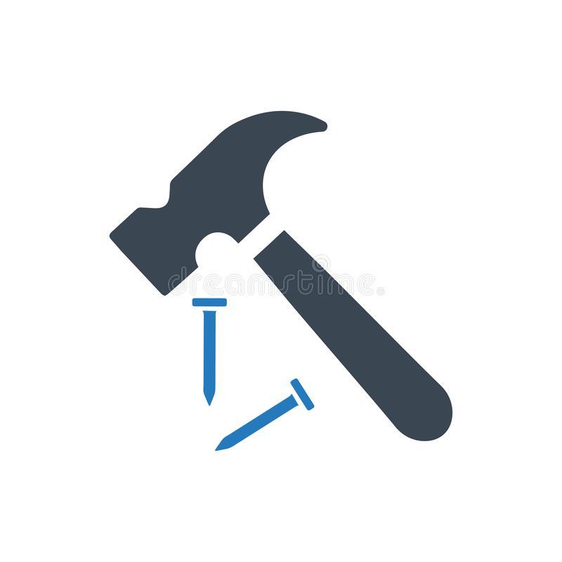 Hammer Nail Stock Illustrations.