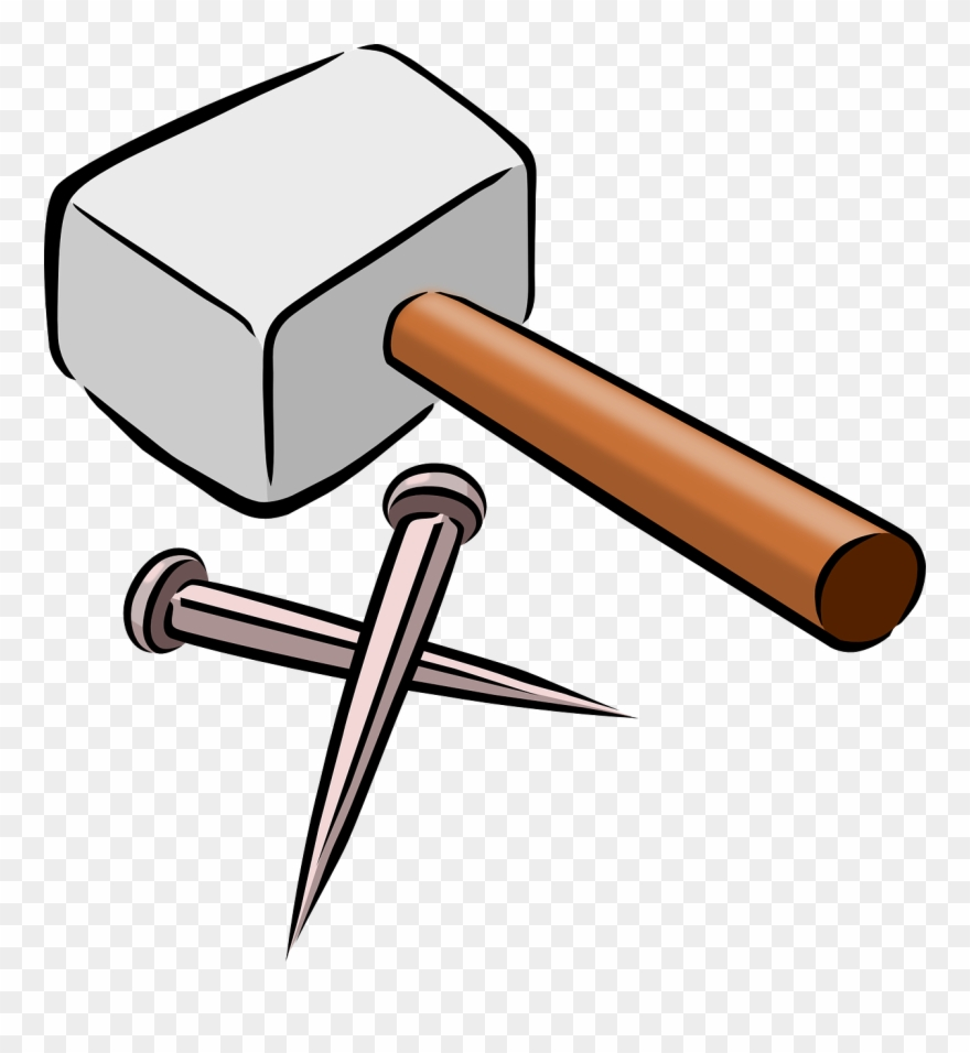 Snarkhunter Hammer And Nails Clip Art Free Vector.
