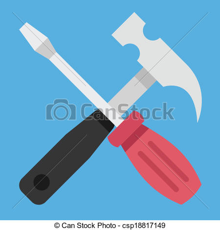 Vector Hammer and Screwdriver Icon.
