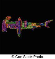 Vector Clip Art of Hammer head sharks Typography word cloud.
