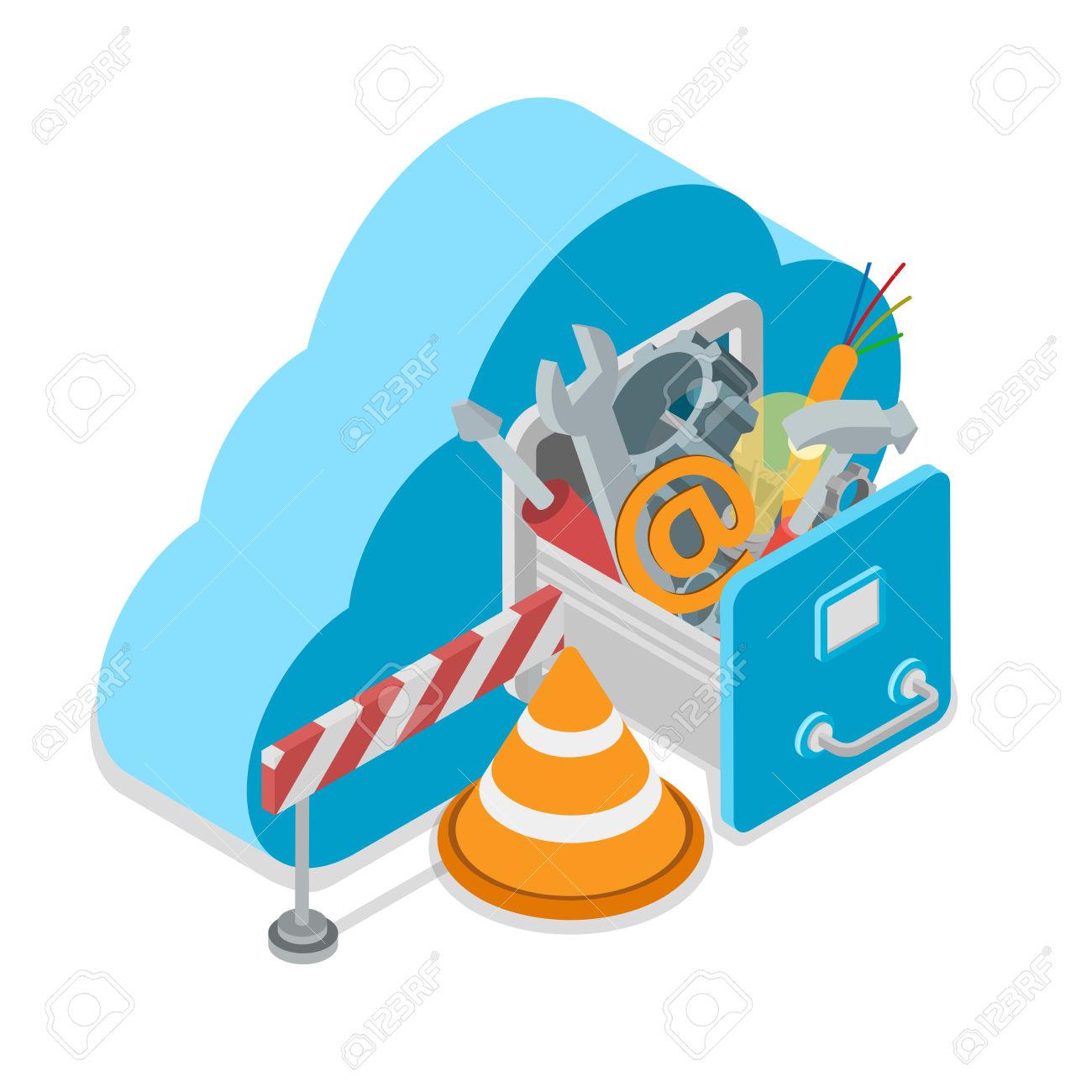 Cloud Service Under Construction. Cloud Shape Drawer Wrench.