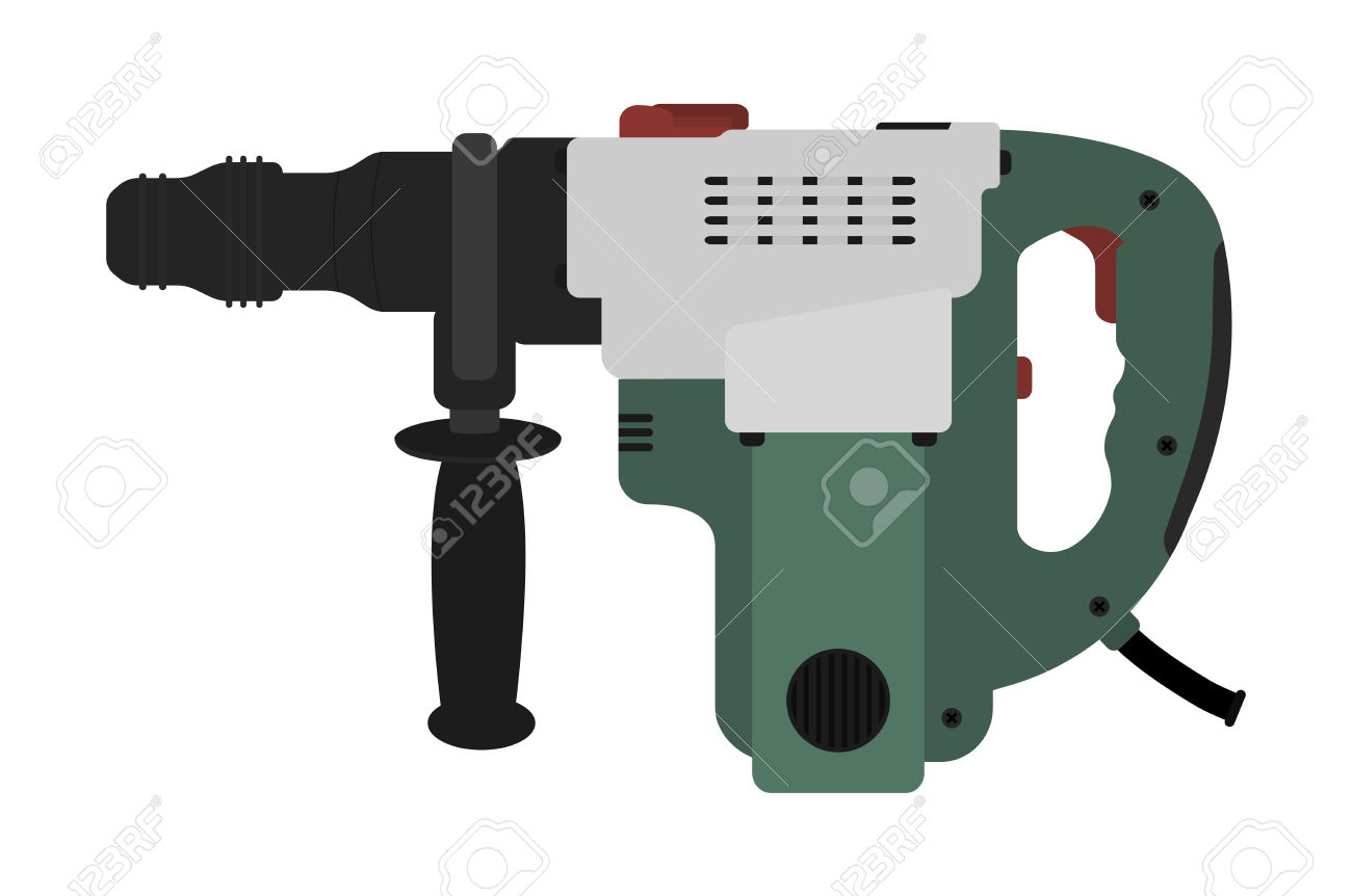 Big Electric Hammer Drill Icon In Black And Green Colors. Clip.