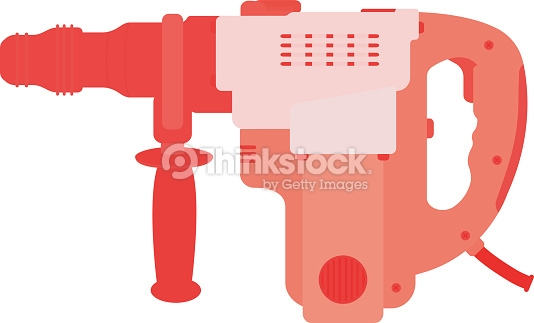 Big Electric Hammer Drill Vector Clip Art Vector Art.