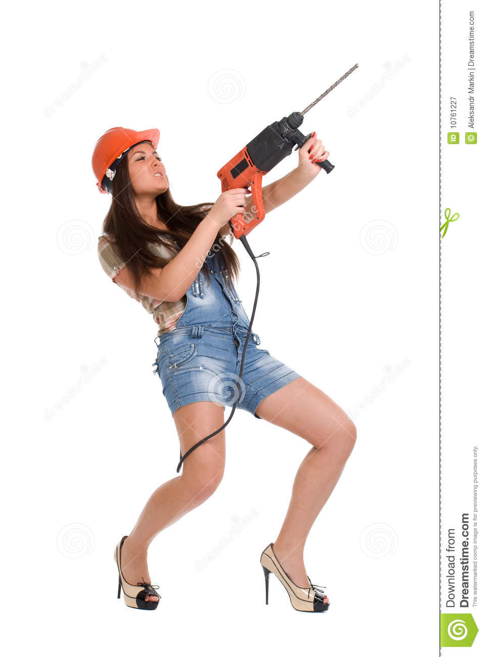 Woman Holding Hammer Drill 2 Royalty Free Stock Photography.