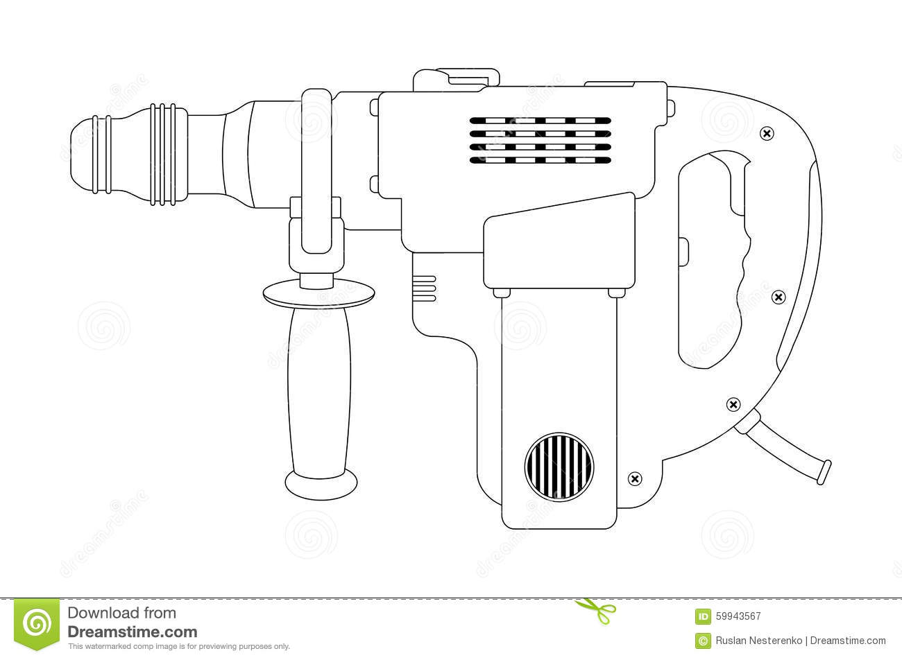 Big Electric Hammer Drill. Contour Stock Vector.