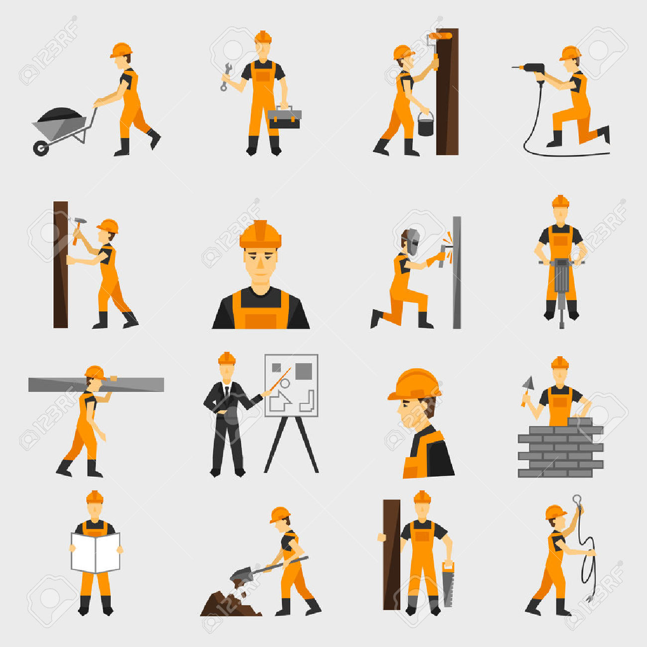 Construction Worker Character Building With Hand Hammer Drill.