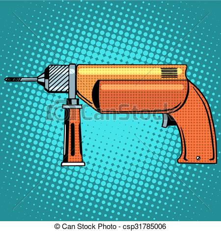 Vector Clipart of Hammer drill power tools pop art retro style.