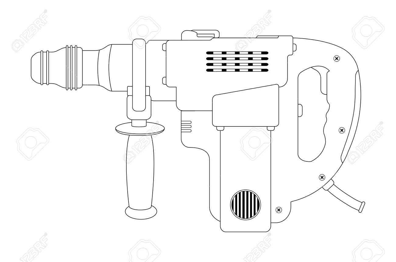 Big Electric Hammer Drill Icon In Black And White Colors. Contour.