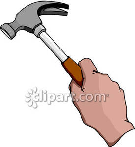 Hand Holding a Hammer Royalty Free Clipart Picture.