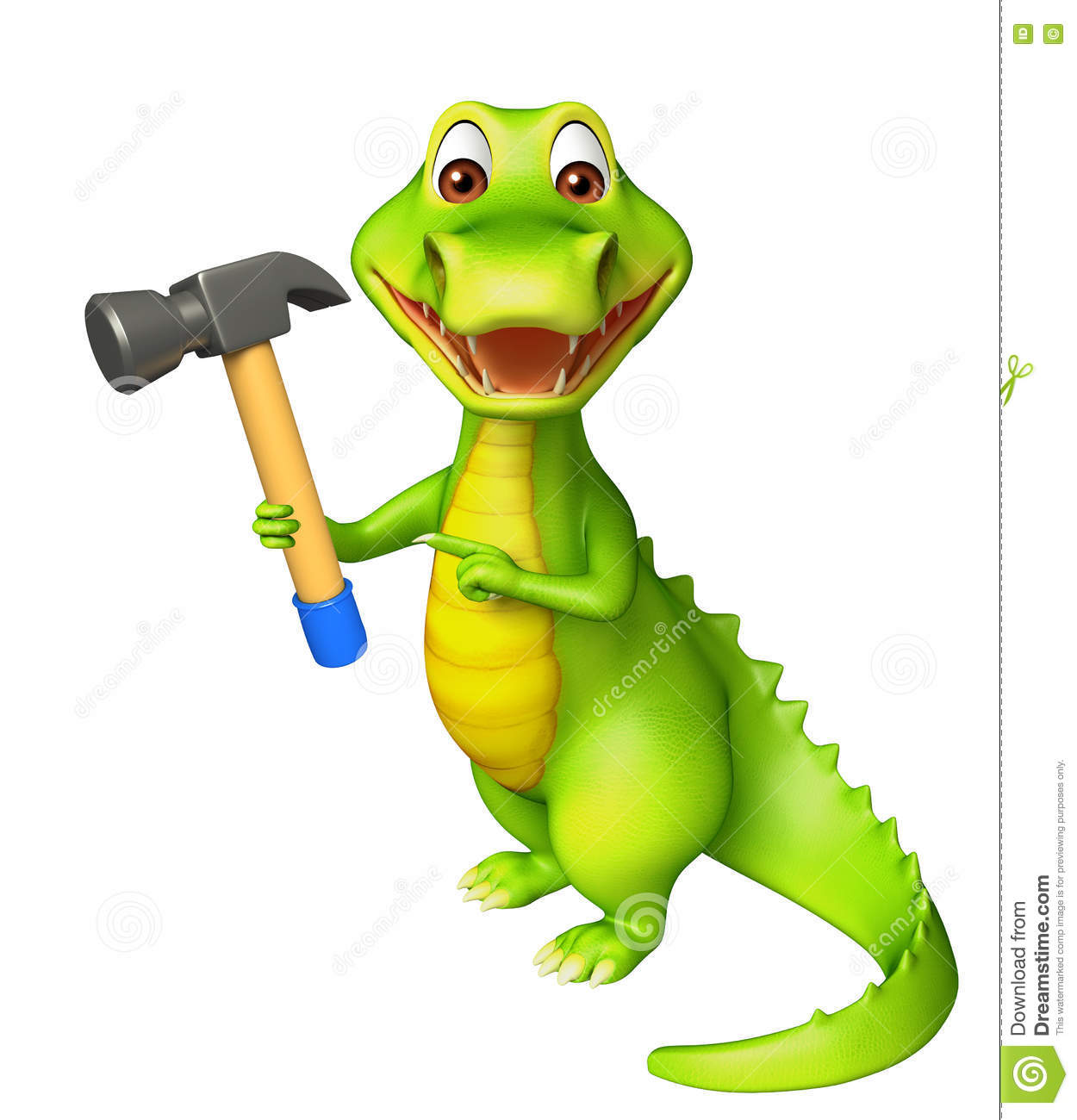 Cute Alligator Cartoon Character With Hammer Stock Illustration.