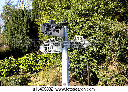 Stock Photo of England, Surrey, Abinger Hammer. An old road sign.