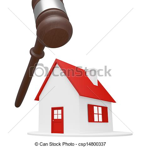 Drawings of House with hammer over the top on white background.