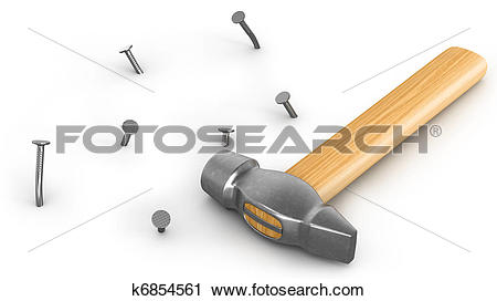 Clipart of Hammer with few hammered and bended nails isolated.