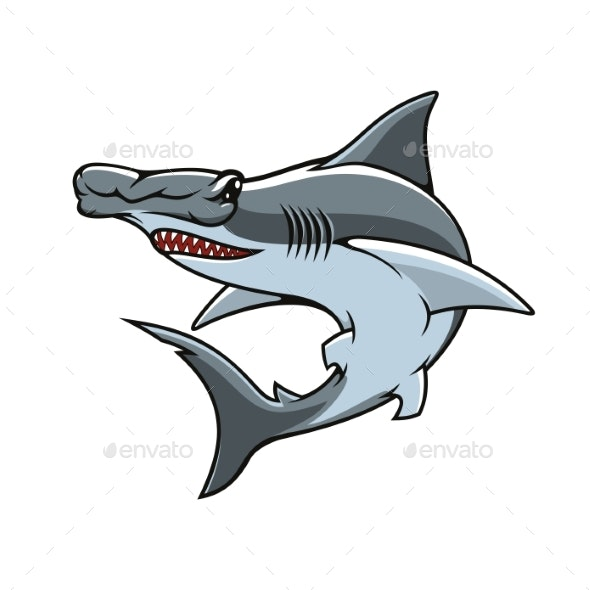 Hammerhead Shark Isolated Vector Mascot Icon.