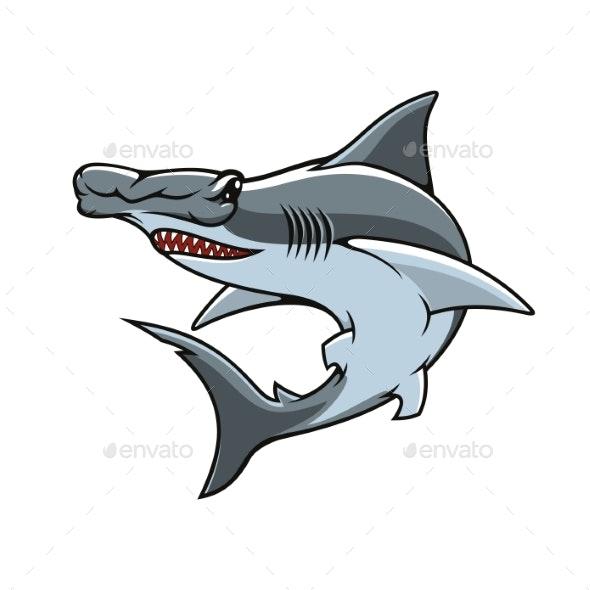 Hammerhead Shark Isolated Vector Mascot Icon.