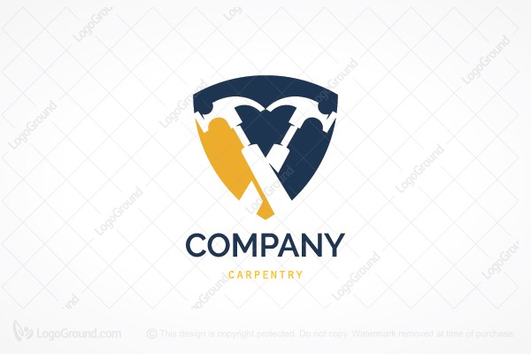 Exclusive Logo 188577, Two Hammers Carpentry Logo.