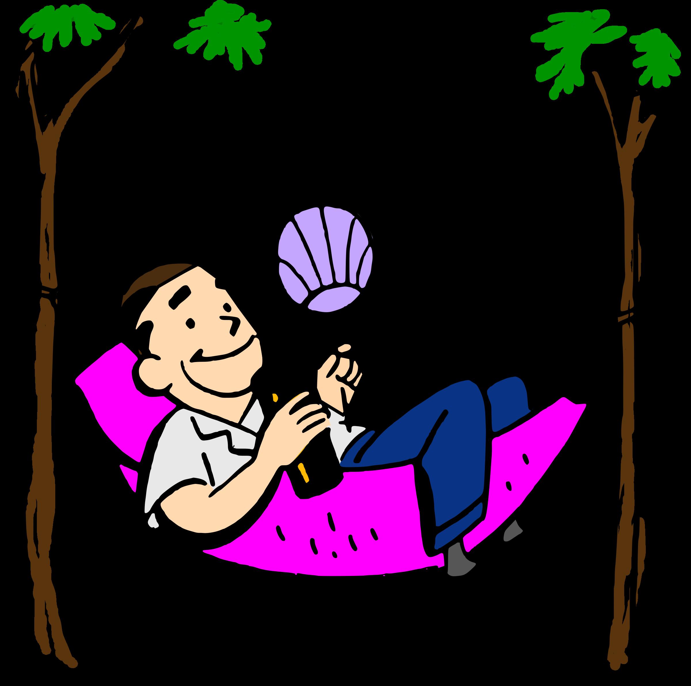 Man in hammock clipart.