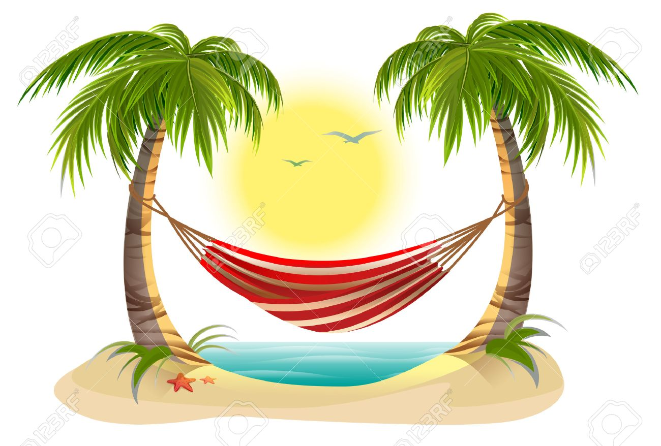 Palm Tree With Hammock Clipart.