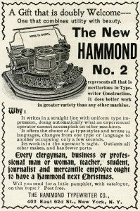 antique typewriter, black and white clipart, old magazine ad.