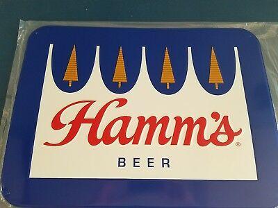 L@@K) HAMMS BEER Crown Logo Tin Bar Sign Land Of Sky Blue.