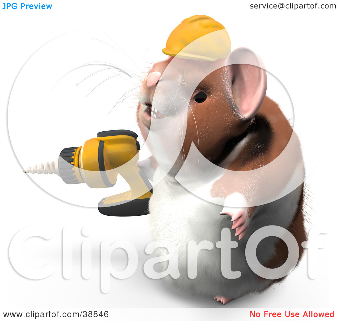 Clipart Illustration of Hammy The Productive Hamster Wearing A.