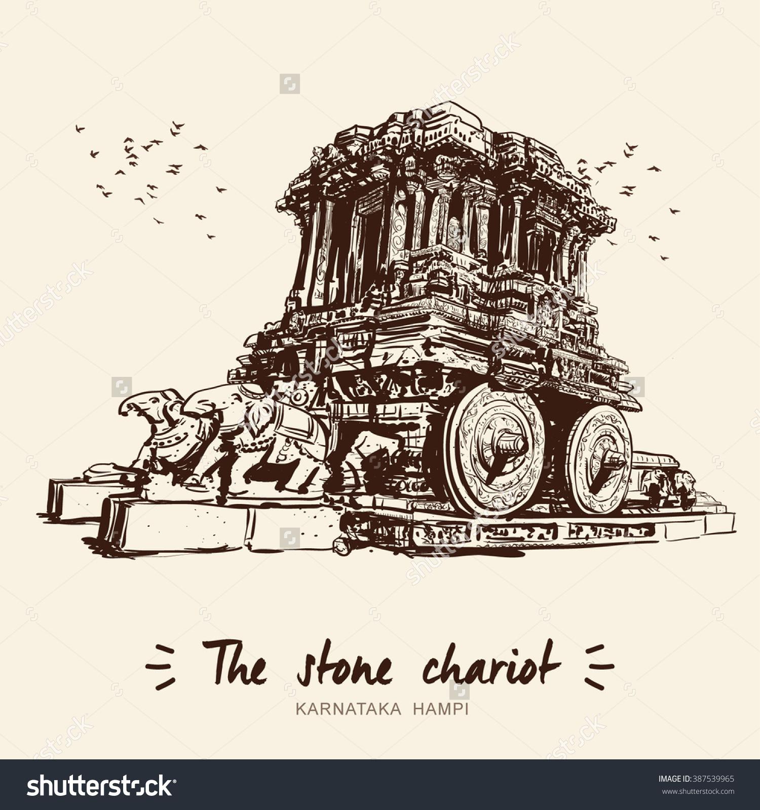 Stone Chariot Hampi Karnataka India Vector Stock Vector 387539965.