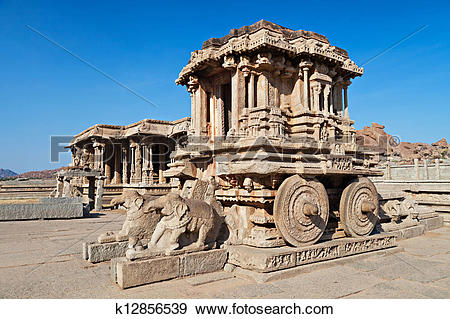 Stock Photograph of Chariot, Hampi, India k12856539.