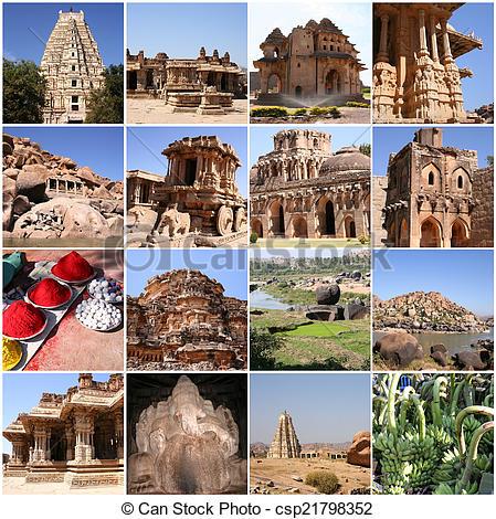 Stock Images of Hampi, Karnataka, India.
