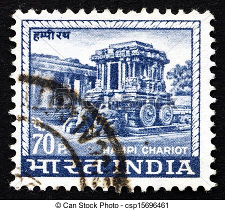 Stock Image of Postage stamp India 1967 Carved Stone Chariot.