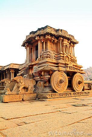 Ancient Ruins Of Stone Chariot. Hampi, India. Royalty Free Stock.