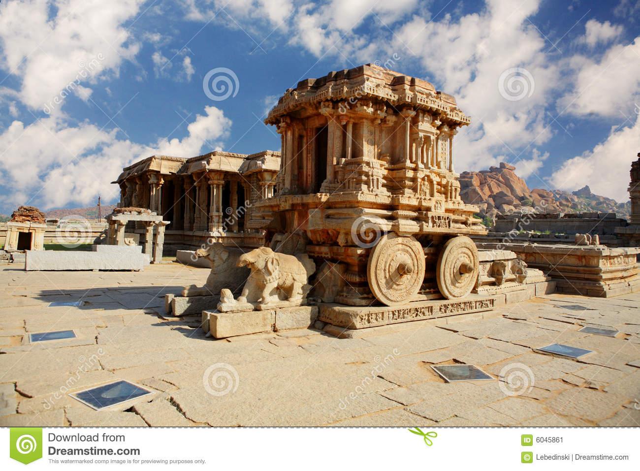 Stone Chariot In Hampi. India Stock Image.
