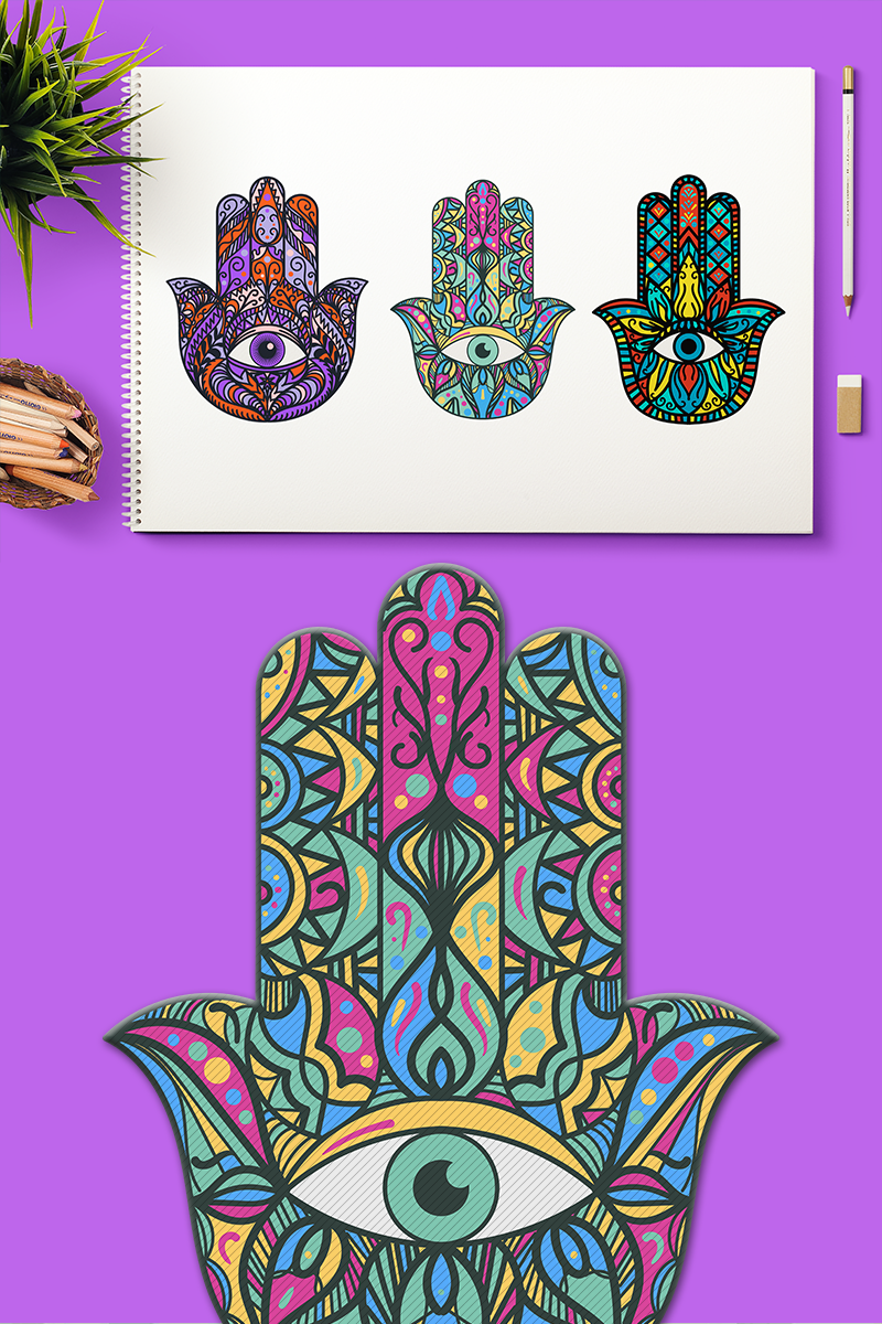 Bright Hamsa Hands Cliparts Set Illustration.