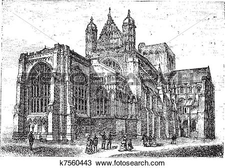 Clipart of Winchester Cathedral in Winchester Hampshire England.