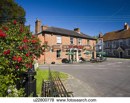 Pictures of England, Hampshire, St Mary Bourne. The George Inn pub.
