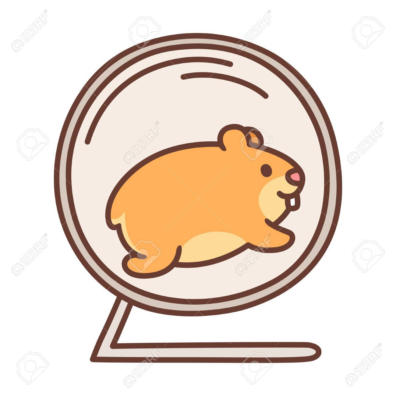 Cute cartoon hamster running in hamster wheel. Vector pet illustration..