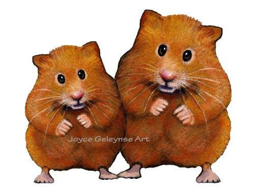 Printable Clip Art Cute Hamster Couple Freehand Color Pencil.