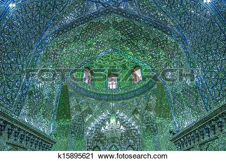Stock Photography of Mirrored interior of Ali Ibn Hamza shrine in.