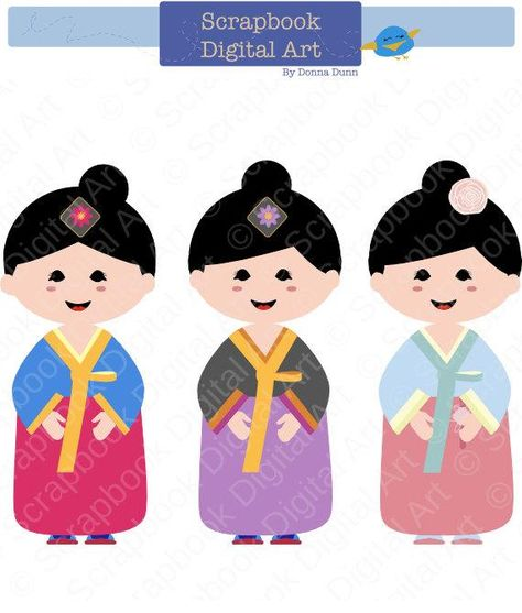 Korean Girl Hanbok, Hanbok Clip Art, Hanbok Girl, Korean.