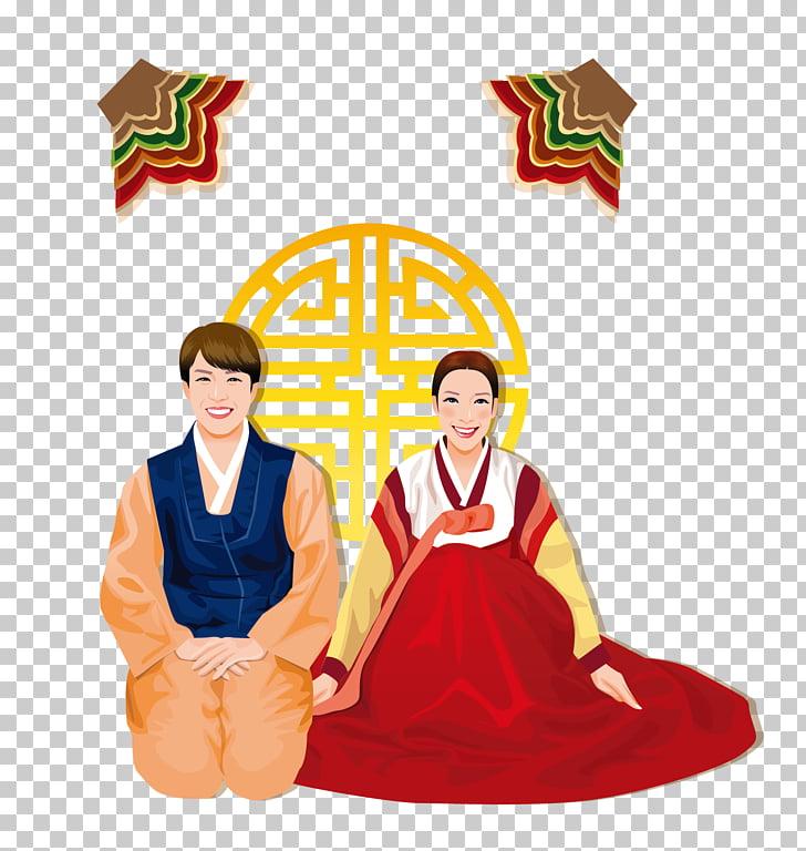 Korea Hanbok Stock photography , Loving couple material PNG.