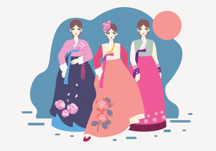 Lady In Hanbok Vector.