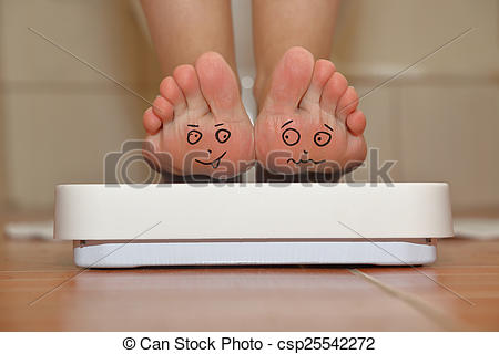 Stock Illustrations of Feet on bathroom scale with hand drawn cute.