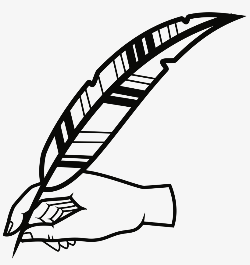 Hand With Quill Pen Vector Black And White.