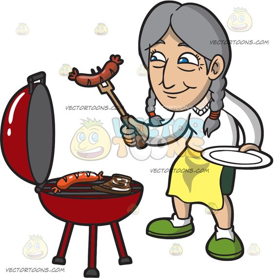 An Old Woman Getting The Cooked Sausage Off The Griller.